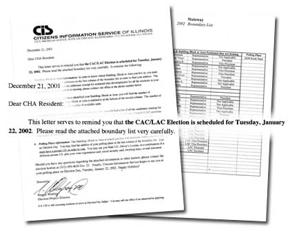 Letter from Citizens Information Service of Illinois reminding residents of CAC/LAC January elections.