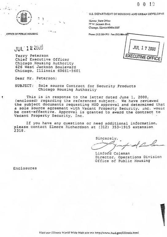 July 12, 2000 response from Linford Coleman approving sole source for VPS