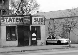 Police in front of Stateway sub shop