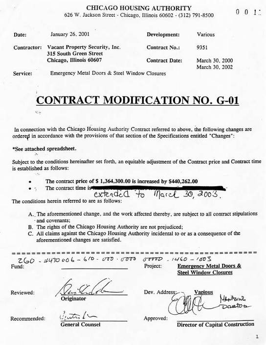 January 26, 2001 Contract Modification G-01