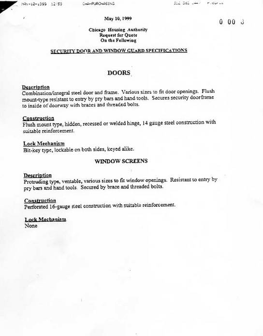 May 10, 1999 CHA Request for Quote on security doors/windows with specifications
